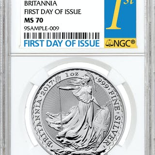 2017 Great Britain 1 oz Silver Britannia - £2 Coin NGC MS70 First Day of Issue