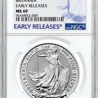 2017 Great Britain 1 oz Silver Britannia - £2 Coin NGC MS69 Early Release