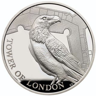 2019 Great Britain Tower of London - Raven Silver Proof £5 Coin GEM Proof