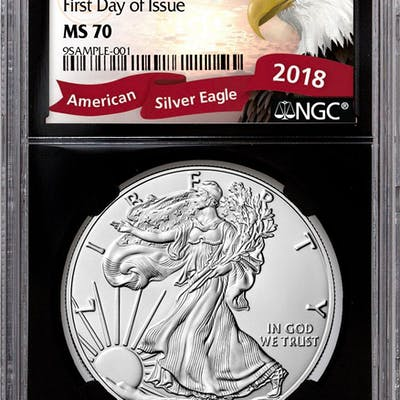 2018 American Silver Eagle NGC MS70 First Day of Issue Black Core