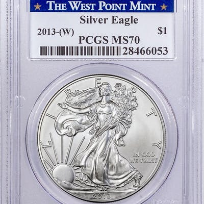 2013-(W) Silver Eagle Struck at West Point PCGS MS70 West Point Mint Label