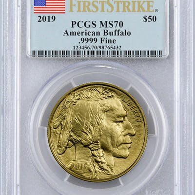2019 1 oz Gold Buffalo $50 Coin PCGS MS70 First Strike Flag Label