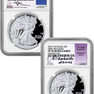 Set of 2 - 2017-W Proof American Silver Eagle NGC PF70 UC First Release