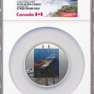 2017 Canada En Plein Air - A Paddle Awaits 1 oz Silver Colorized Proof
