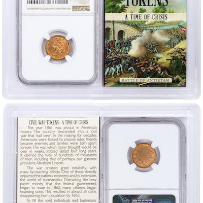 1863 United States Army & Navy Civil War Token NGC MS64 RD In Story