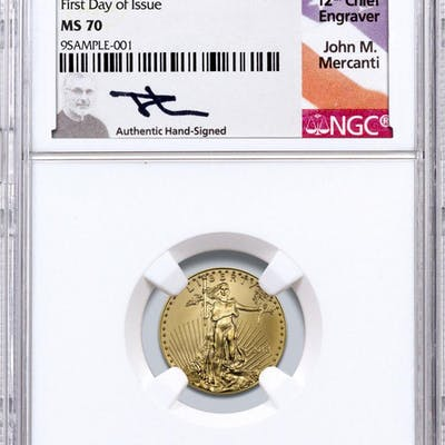 2018 1/10 oz Gold American Eagle $5 NGC MS70 First Day of Issue Mercanti