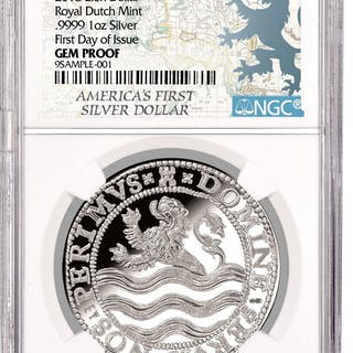 2018 Netherlands Silver 1 Lion Dollar NGC GEM Proof First Day of Issue