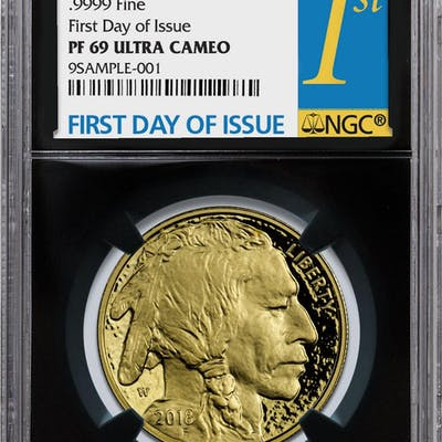 2018-W 1 oz Gold Buffalo Proof $50 Coin NGC PF69 UC First Day of Issue