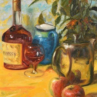 Henry McGrane (b.1969) Still Life - Hennessy and Fruit