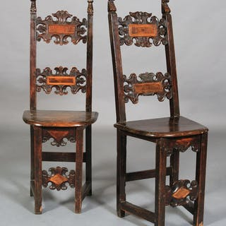 A PAIR OF NORTH ITALIAN SIDE CHAIRS