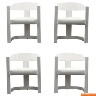 "Karl Springer ""Onassis"" Armchairs/Dining Chairs, Set of Four"