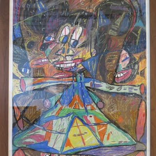 "Michael Changnon Pastel on Paper ""Minnie Mouse"""
