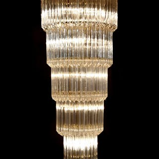 Monumental Camer Glass Chandelier, 55″H (4 Available)