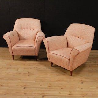 Paar Sesseln im italienischen Design aus rosa Stoff