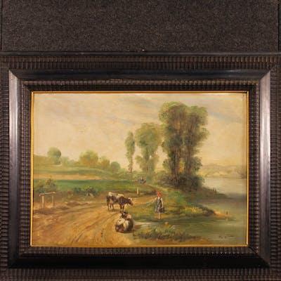 Französische unterzeichnete bukolische Landschaft Gemälde