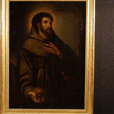 Antike spanische religiöse Gemälde Heilige Franziskus