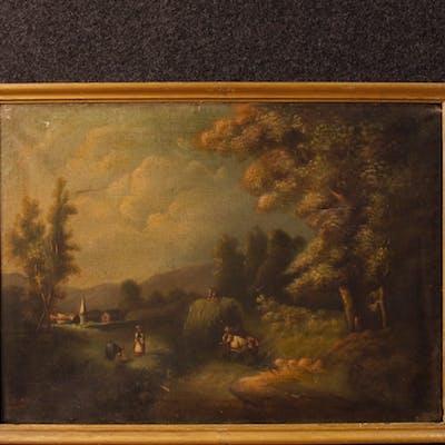Antike spanische unterzeichnete Landschaft Gemälde 19. Jahrhunderts