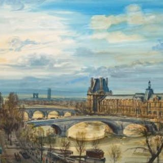 "Albert DECARIS - ""Vue de Paris avec le Louvre"", Aquarelle originale"