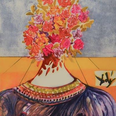 Salvador DALI - The Flowering of Inspiration (Gala en fleurs), Lithographie
