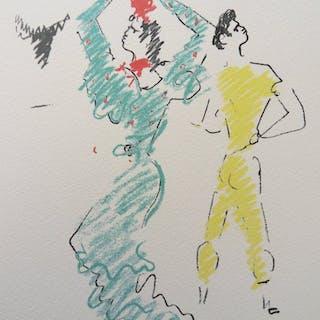 Jean COCTEAU : Danseuse de Flamenco - Lithographie, 1961