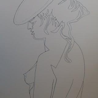 Jean COCTEAU - Femme de profil, Lithographie signée