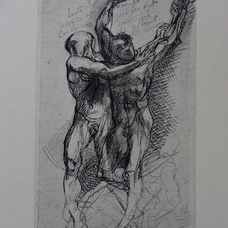 Auguste RODIN (d'après) - Dante et Virgile, Gravure - 1897