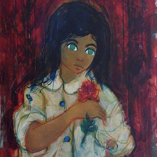 "Jean-Baptiste VALADIÉ- ""Fillette à la rose"", Huile sur toile originale signée"