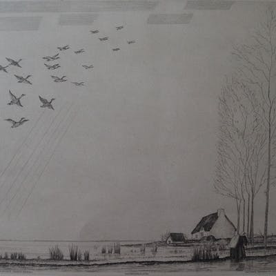 Jean-Emile LABOUREUR - Vol de canards, Eau-forte originale