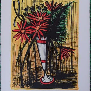Bernard BUFFET - Bouquet dans un mazagran, Estampe