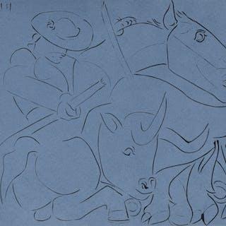 Pablo PICASSO - La Pique cassée, Gravure sur Linoleum
