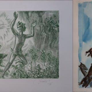 Albert DECARIS - Le Printemps, Aquarelle et gravure originale signée