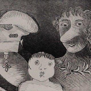 Enrico BAJ - Famille, 1971, gravure signée