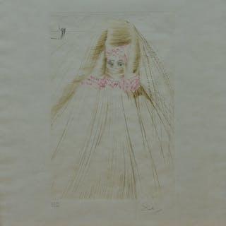 Salvador DALI - La reine avec la tunique en soie, 1970, Eau-forte