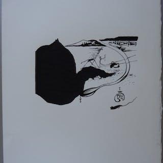 Salvador DALI - Girafe en feu et route du Yin-Yang, Bois gravé original signé