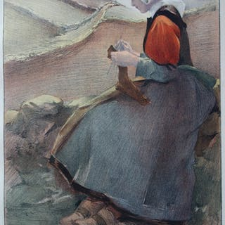 Jacques Wely - Fleur de Lande, Lithographie originale  signée (1897)
