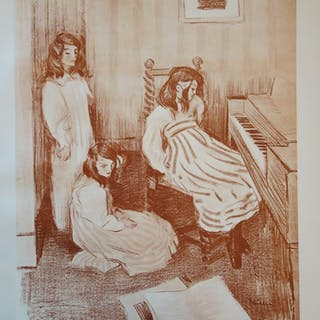 Alfredo MULLER - Bouderie, Lithographie originale signée (1897)