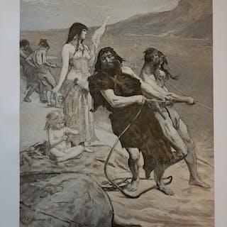 Fernand Cormon - Cité lacustre, Lithographie originale  signée (1897)