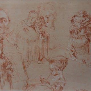 Antoine WATTEAU (d'après) - Croquis de fillette, Lithographie
