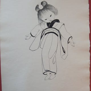 Léonard Tsuguharu FOUJITA - Une jeune japonaise dansante, 1955, Gravure