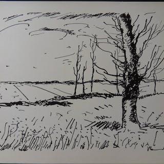 Maurice de VLAMINCK - Vallée de l'Avre, 1958, Lithographie originale