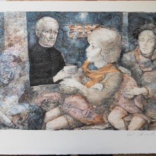 Lucien Philippe MORETTI - L'aide d'un Juste, Lithographie originale signée