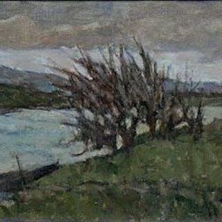 Giuseppe COMPARINI - Bateau sur l'Arno, 1968, Huile sur toile