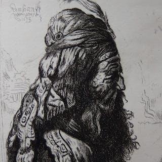 REMBRANDT (d'après) - Tête orientale, Gravure réalisée par Gilbert