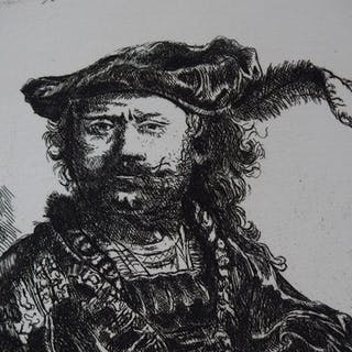 REMBRANDT (d'après) - Autoportrait au bonnet, Gravure réalisée par