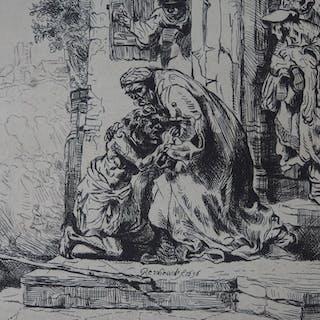 REMBRANDT (d'après) - Retour de l'enfant prodigue, Gravure réalisée