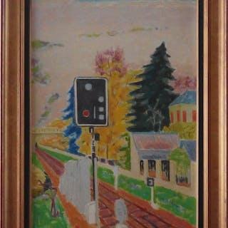 Jules CAVAILLES - Chemin de Fer : le Signal, Huile sur toile signée