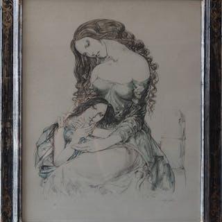 Tsuguharu FOUJITA - Mère et fille, 1964, Lithographie originale signée