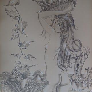 Michel VIOT - Jeune fille au fruit, Lithographie originale signée