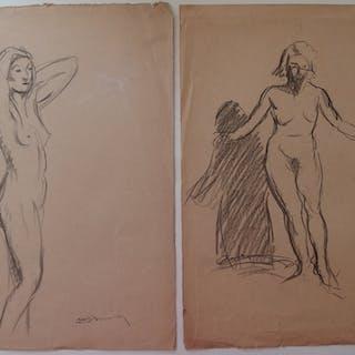 Maurice BOUVIOLE - Deux dessins, Études de modèle debout, signé