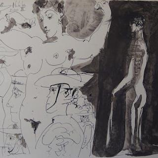 Pablo PICASSO (d'après) - Femme et toréador, 1960, Lithographie signée